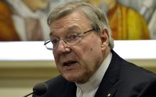 Australian Cardinal George Pell at a press conference at the Vatican on 31 March 2014.