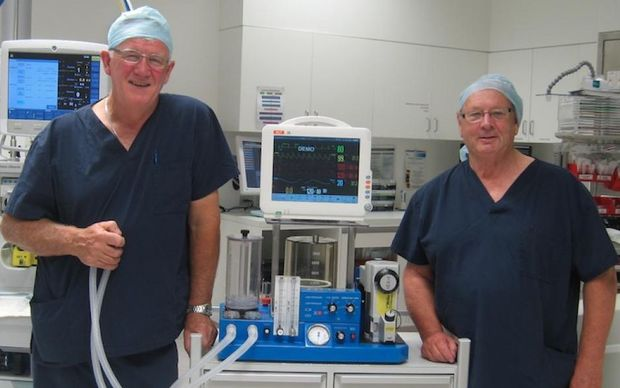 John Hyndman, left, and Ivan Batistich with the HYVAN, a portable anaesthesia machine they designed.