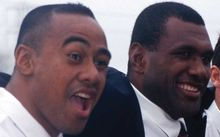 Jonah Lomu and Joeli Vidiri after the naming of the All Black team, 1998.