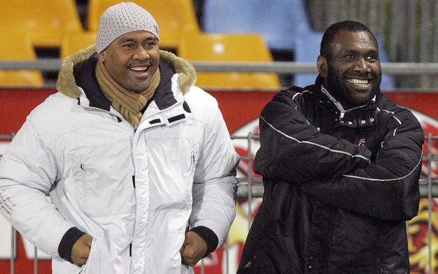 Jonah Lomu with Joeli Vidiri on the rugby sidelines. 2006.