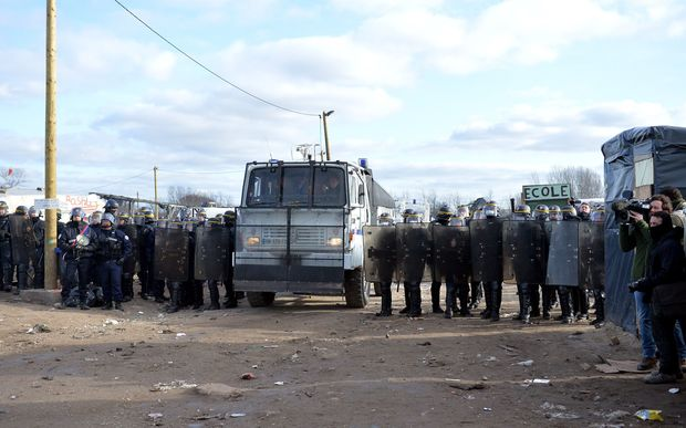 French police helping clear the southern part of the camp.