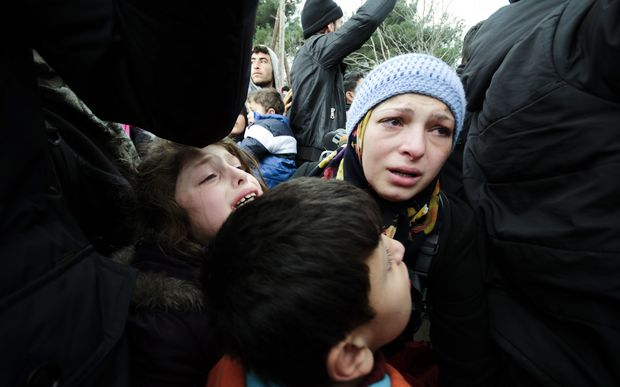 Children at Idomeni in Greece, on the border with Macedonia.