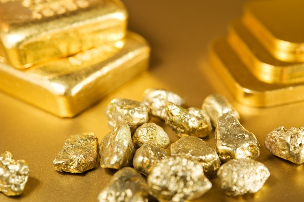 A collection of gold bars, ingots and nuggets (file)