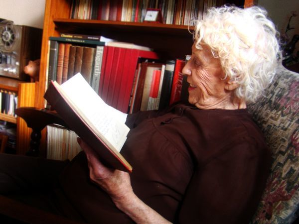 Elderly lady reading