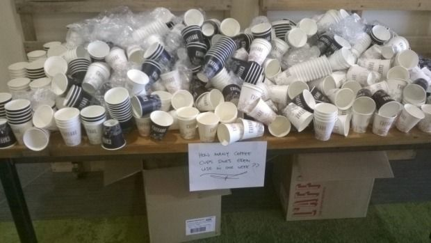 pile of coffee cups