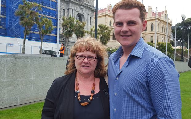 A patient with advanced melanoma, Jeff Patterson, at Parliament with his mother, Anita Woodger.