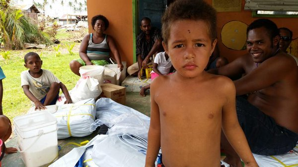 Families staying at the Kindergarten in Fiji's Taveuni have just received supplies.