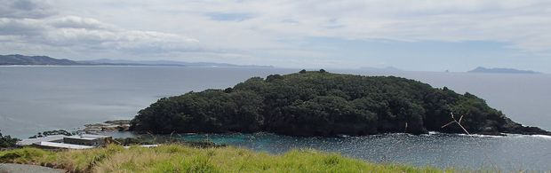 View across Leigh marine laboratory to Goat Island the surrounding marine reserve.