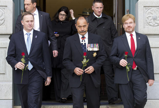 Former US ambassador David Huebner, far right, pictured with Prime Minister John Key, left, and Governor-General Sir Jerry Mateparae preparing to lay a rose on the Tomb of the Unknown Warrior in June 2012.