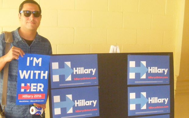 A supporter of Democratic presidential candidate Hillary Clinton at American Samoa's Decocratic Caucus.