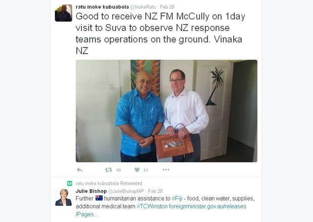 Fiji's Foreign Minister Ratu Inoke Kubuabola tweets on aid from New Zealand and Australia