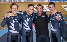 The New Zealand sprint track cycling team of Ethan MIitchell, Eddie Dawkins, Anthony Peden (coach) and Sam Webster celebrate victory at the world champs in London.