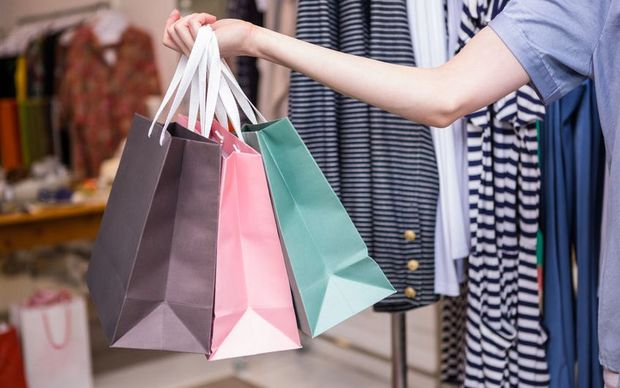 Shopping bags in fashion store