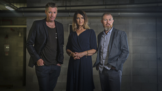 Fairfax Media's moody shot of their investigative team: Toby Longbottom, Paula Penfold and Eugene Bingham