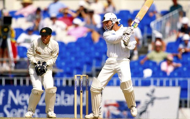 Martin Crowe elegantly cuts against Australia in the 1992/93 series.
