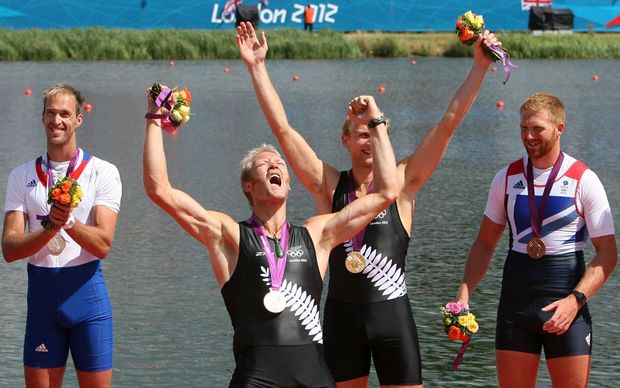 Hamish Bond and Eric Murray celebrate their gold medal win at the London Olympics.