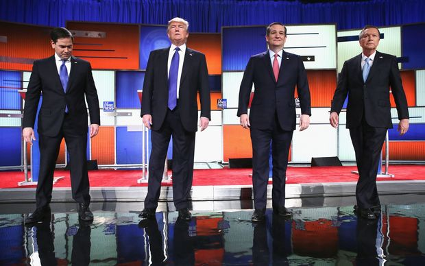 Republican presidential candidates (Lto R) Sen. Marco Rubio (R-FL), Donald Trump, Sen. Ted Cruz (R-TX), and Ohio Gov. John Kasich, participate in a debate sponsored by Fox News on March 3, 2016 in Detroit, Michigan. Voters in Michigan will go to the polls March 8 for the State's primary.