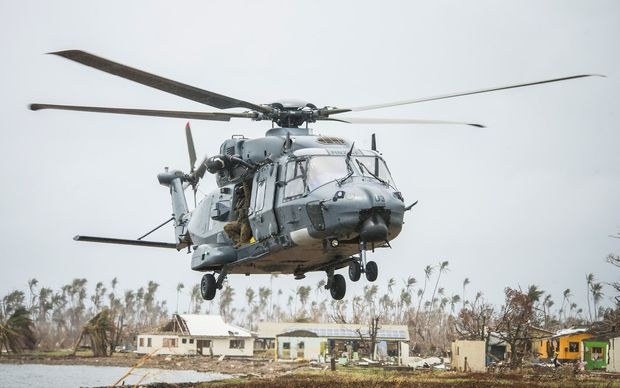 RNZAF NH90 multi-role helicopters delivered aid supplies to Koro Island on Friday as part of the aircraft's first overseas operation.