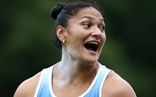 Valerie Adams reacts to her winning throw at the NZ track and field champs., 2016.