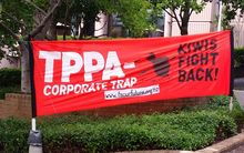 A sign outside the first of the government's 16 nationwide roadshow events to explain the TPP agreement.