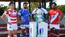 The captains pose with the World Rugby Pacific Challenge Trophy.