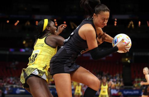Silver Ferns goal attack Maria Tutaia battles against Jamaica at the 2015 world champs in Sydney.