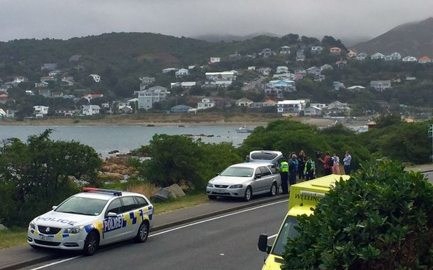 Police at the scene of the drowning