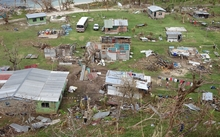 A birds eye view of Lavena village Taveuni in Fiji after Cyclone Winston