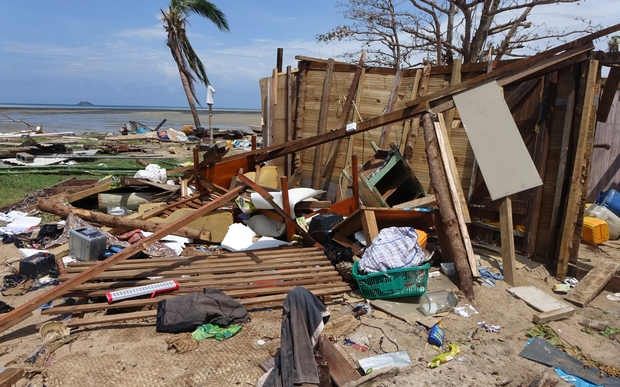 Debris strewn on the beach at a property in Vuaki village in the Yasawa Island Group in Fiji