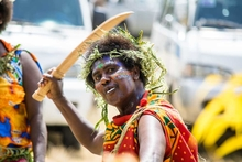 Vanuatu Kastom performer at International Day for Rural Women, October 2015 - Emua Village.