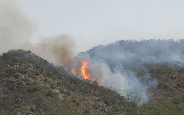 Fire on the hill close to the main entrance to Hanmer Springs.