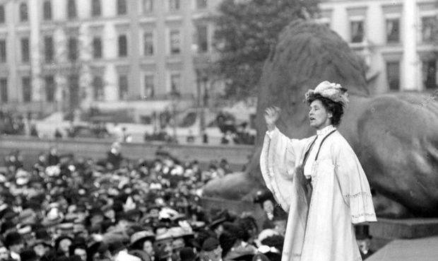 Suffragist Emily Pankhurst addressing a meeting in London's Trafalgar Square, 1908.