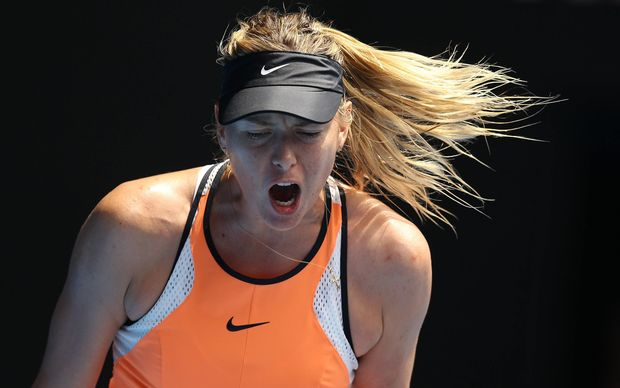 Maria Sharapova during her quarterfinal loss to Serena Williams at the 2016 Australian Open.