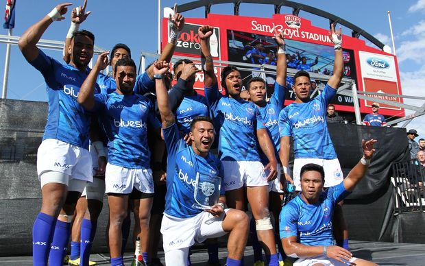 Samoa won the Shield title at the 2016 Las Vegas Sevens.