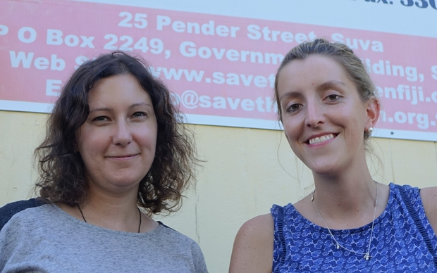 Save the Children staff Melanie Patterson and Jessica Kay in Suva Fiji