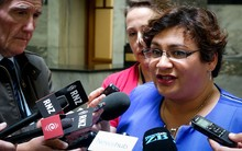 Metiria Turei talking on the GCSB / SIS report at bridge run.