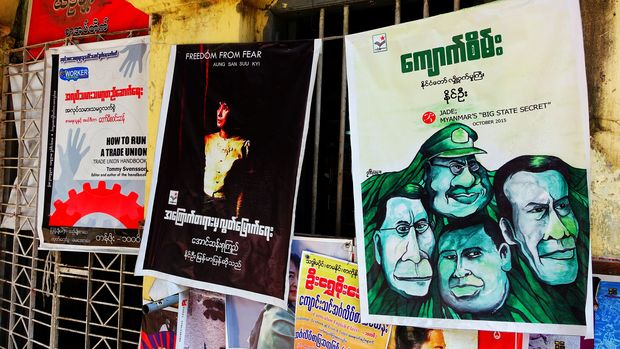 Posters advertising political books in Yangon