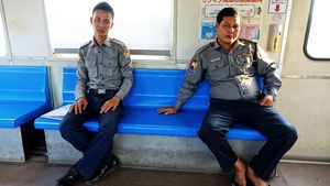 Myanmar Police on the Central Rail Line in the commercial capital Yangon