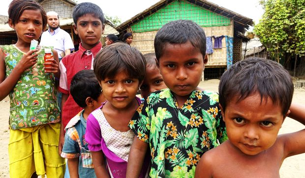 Children at a Sittwe refugee camp in the Rakhine State