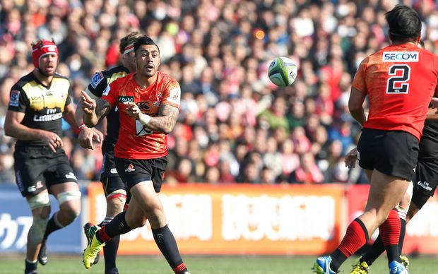 Tusi Pisi during the Sunwolves debut Super Rugby match against the Lions in Tokyo.