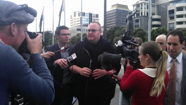 Kim Dotcom arriving at Parliament on Wednesday afternoon.