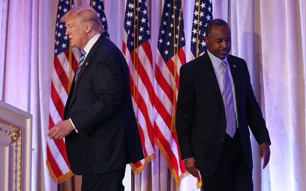 Donald Trump takes the stage as former republican nomination candidate Ben Carson adds his support.