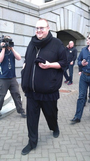 Kim Dotcom after a visit to Parliament.