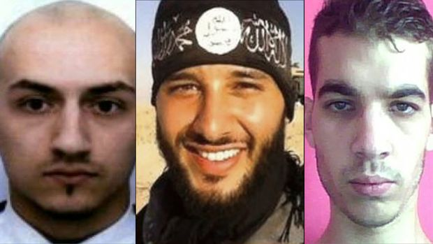 Samy Amimour, Foued Mohamed-Aggad and Omar Ismail Mostefai, who attacked the Bataclan theatre in Paris, killing 90.