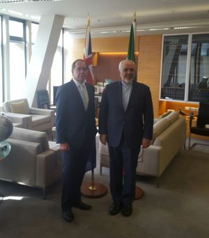 Murray McCully and Mohammad Javad Zarif.