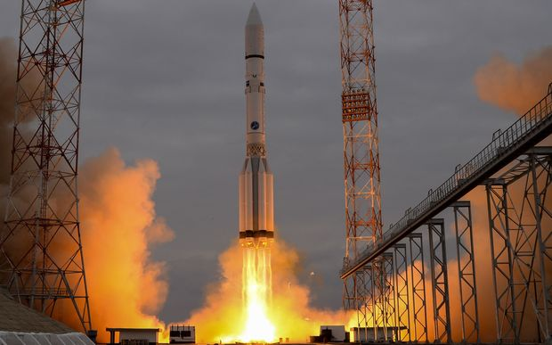 A Russian rocket carrying the ExoMars 2016 spacecraft blasts off in Kazakhstan, 14 March 2016.