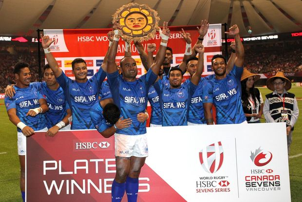 Samoa celebrate winning the Plate title in Vancouver.