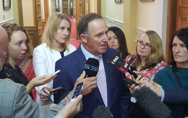Prime Minister John Key talks to reporters at Parliament