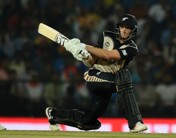 New Zealand's Mitchell Santner plays a shot during the World T20 match between India and New Zealand in Nagpur on 15 March 2016.