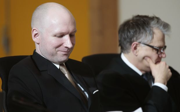 Convict Anders Behring Breivik is suing the state. Anders Behring Breivik (left) and counsel lawyer Oystein Storrvik.